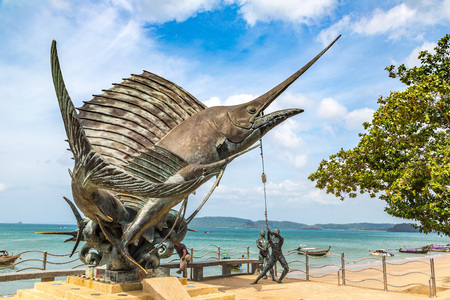 AO NANG, THAILAND - MARCH 29, 2018: Statue of Swordfish in Ao Nang, Krabi, Thailand in a summer day