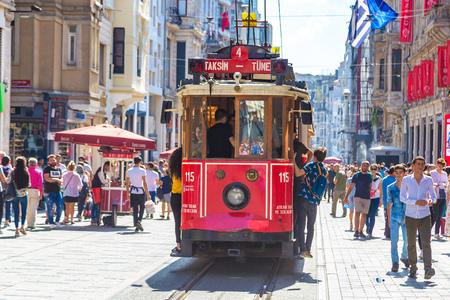 ISTANBUL, TURKEY - MAY 14 : Retro tram on Taksim Istiklal Street  in Istanbul, Turkey in a summer day