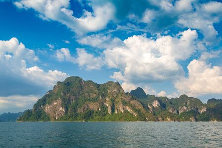 Beautiful nature at Cheow Lan lake, Ratchaprapha Dam, Khao Sok National Park in Thailand in a summer day Reklamní fotografie