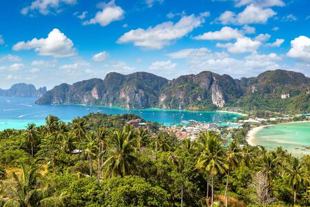 Panoramic aerial view of Phi Phi Don island, Thailand in a summer day