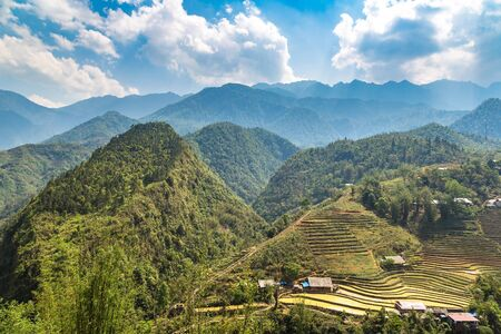 Panoramic view of Terraced rice field in Sapa, Lao Cai, Vietnam in a summer day Reklamní fotografie
