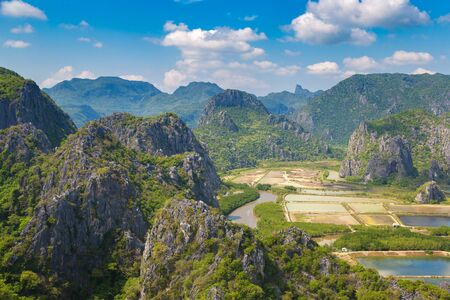 Panoramic aerial view of Khao Sam Roi Yot National Park, Thailand in a summer day Reklamní fotografie