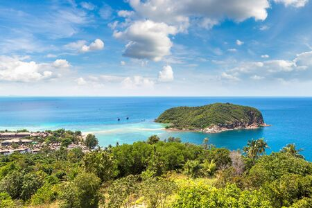 Panoramic aerial view of Koh Mae on Phangan island, Thailand in a summer day