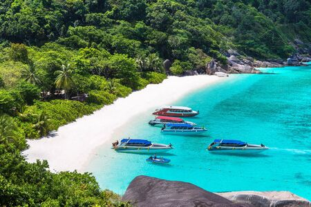 Panoramic view of tropical landscape on Similan islands, Thailand in a summer day