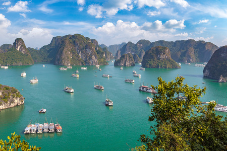 Panoramic aerial view of Halong bay, Vietnam in a summer day Sajtókép
