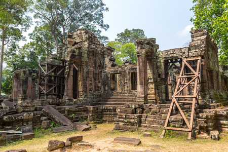 Banteay Kdei temple is Khmer ancient temple in complex Angkor Wat in Siem Reap, Cambodia in a summer day Redakční