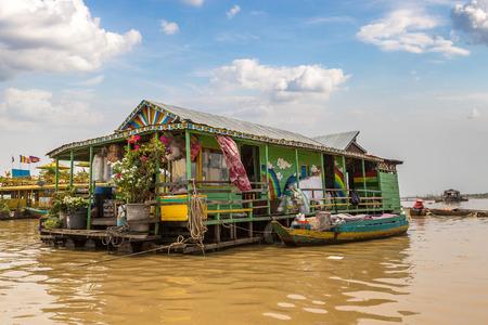Chong Khneas floating village near Siem Reap, Cambodia in a summer day Redakční