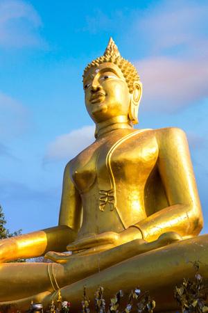 Golden Big Buddha in Pattaya, Thailand in a summer day
