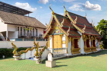 Buddhists temple in Chiang Mai, Thailand in a summer day