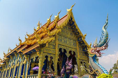 Wat Rong Sua Ten (Blue temple) in Chiang Rai, Thailand in a summer day Redakční