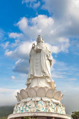 White Buddha statue (Lady Buddha) at Linh Ung Pagoda, Danang, Vietnam in a summer day