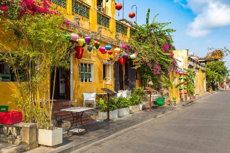 Colorful street  in Hoi An, Vietnam in a summer day Redakční