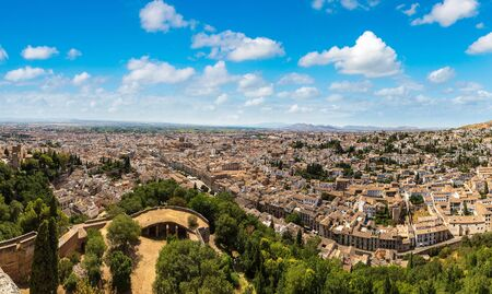 Panoramic aerial view of Granada in a beautiful summer day, Spain