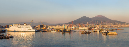 Napoli (Naples) and volcano Vesuvius in the background in a beautiful summer day, Italy Redakční