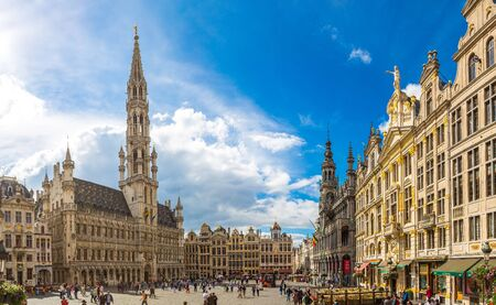 BRUSSELS, BELGIUM - JUNE 16, 2016: Panorama of The Grand Place in Brussels in a beautiful summer day, Belgium on June 16, 2016