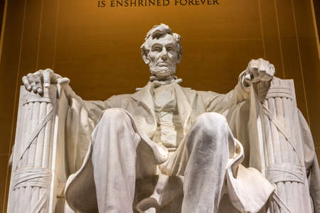 WASHINGTON DC, USA - MARCH 29, 2020: Abraham Lincoln statue inside Lincoln Memorial in Washington DC, USA