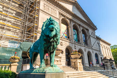 CHICAGO, USA - MARCH 29, 2020: Lion Statue at The Art Institute of Chicago in Chicago, Illinois, USA