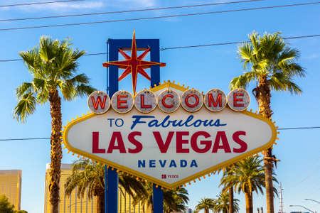 LAS VEGAS, USA - MARCH 29, 2020: Welcome to Fabulous Las Vegas sign on a sunny day in Las Vegas, Nevada, USA Editorial