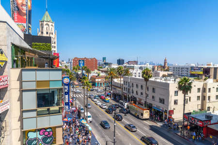 LOS ANGELES, HOLLYWOOD, USA - MARCH 29, 2020: Panoramic aerial view of Walk of Fame on Hollywood Boulevard, Los Angeles, California, USA 新闻类图片