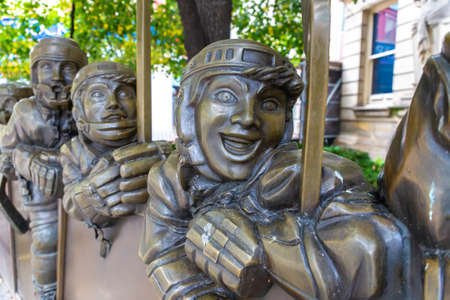 TORONTO, CANADA - APRIL 2, 2020: Bronze sculpture at Hockey Hall of Fame in Toronto, Ontario, Canada