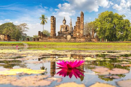 Wat Mahathat Temple in Sukhothai historical park, Thailand in a summer day Stock Photo