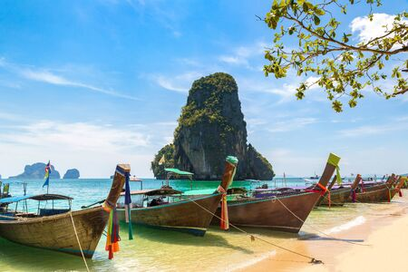 Traditional long tail boat on Ao Phra Nang Beach, Krabi, Thailand in a summer day Stock fotó