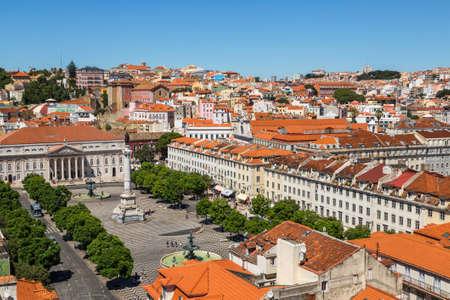 LISBON, PORTUGAL - JULY 30, 2014: Aerial view of Lisbon, Portugal. Sao Jorge Castle Editorial