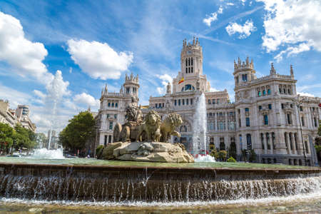 MADRID, SPAIN - JULY 11, 2014: Cibeles fountain at Plaza de Cibeles in Madrid in a beautiful summer day, Spain Editorial