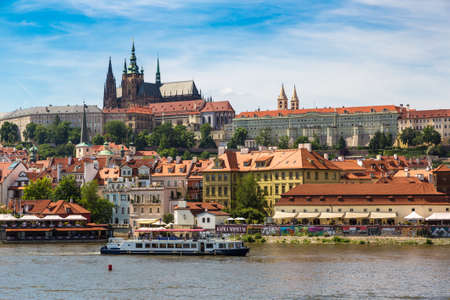 PRAGUE, CZECH REPUBLIC - JUNE 23, 2016: Panoramic view of Prague in a beautiful summer day, Czech Republic