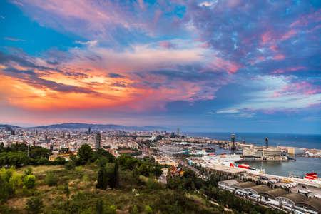BARCELONA, SPAIN - JUNE 11, 2014: Panoramic view of Barcelona and port in Spain Sajtókép