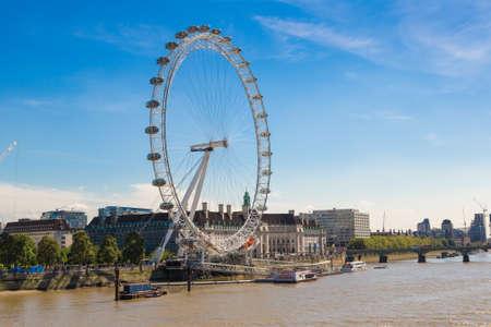 LONDON, UNITED KINGDOM - JUNE 14, 2016: London eye, large Ferris wheel in a beautiful summer day, London, England, United Kingdom Editoriali