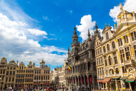 BRUSSELS, BELGIUM - JUNE 16, 2016: The Grand Place in Brussels in a beautiful summer day, Belgium on June 16, 2016