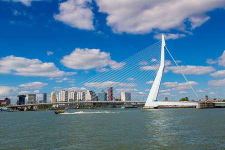 ROTTERDAM, NETHERLANDS - JUNE 16, 2016: Erasmus bridge in Rotterdam in a beautiful summer day, The Netherlands
