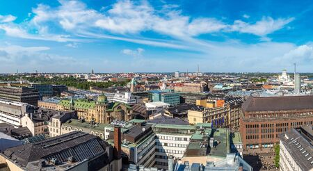 Panoramic aerial view of Helsinki in a beautiful summer day, Finland