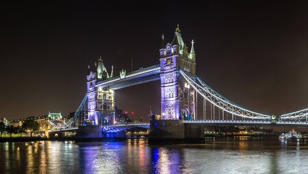 Tower Bridge in London in a beautiful summer night, England, United Kingdom