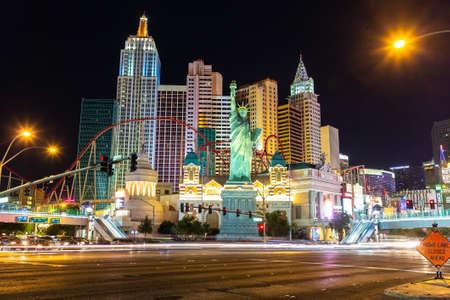LAS VEGAS, USA - MARCH 29, 2020: New York Hotel and Casino in Las Vegas at night, Nevada, USA Editorial