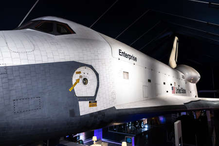 NEW YORK CITY, USA - MARCH 29, 2020: Space Shuttle Enterprise at New York City's Intrepid Sea, Air & Space Museum Complex in New York City, NY, USA