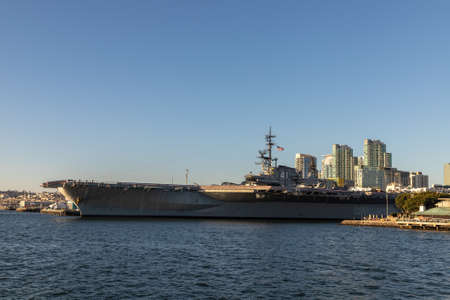 SAN DIEGO, USA - MARCH 29, 2020: Aircraft carrier USS Midway Museum in San Diego, California, USA
