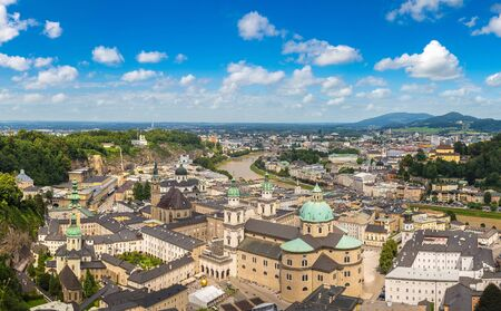 Panoramic aerial view of Salzburg Cathedral, Austria in a beautiful day