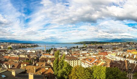 Panoramic aerial view of Geneva in a beautiful summer day, Switzerland