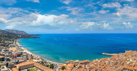 Aerial view of Cefalu and cathedral in Sicily, Italy in a beautiful summer day