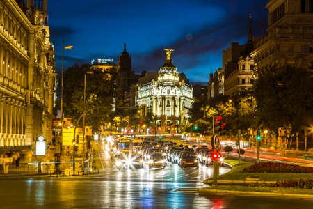 MADRID, SPAIN - JULY 11, 2014: Metropolis hotel in Madrid in a beautiful summer night on July 11, 2014 in Madrid, Spain