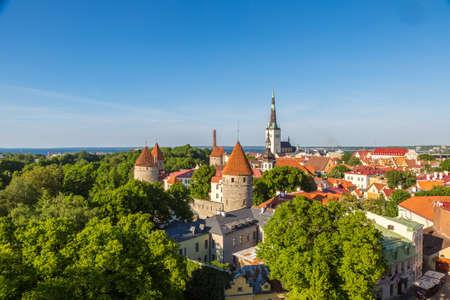 TALLINN, ESTONIA - JUNE 23, 2016: Aerial View of Tallinn Old Town in a beautiful summer day, Estonia