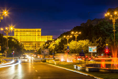 BUCHAREST, ROMANIA - JUNE 19, 2016: Building of Romanian parliament in Bucharest in a beautiful summer night, Bulgaria
