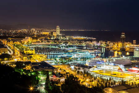 BARCELONA, SPAIN - JUNE 11, 2014: Panoramic view of Barcelona and port in Spain Editorial