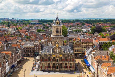 DELFT, THE NETHERLANDS - JUNE 16, 2016: Panoramic aerial view of Delft in a beautiful summer day, The Netherlands
