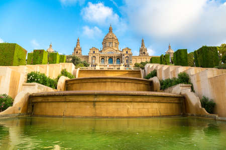 BARCELONA, SPAIN - JUNE 11, 2014: Placa de Ispania (The National Museum) in Barcelona, Spain in a summer day