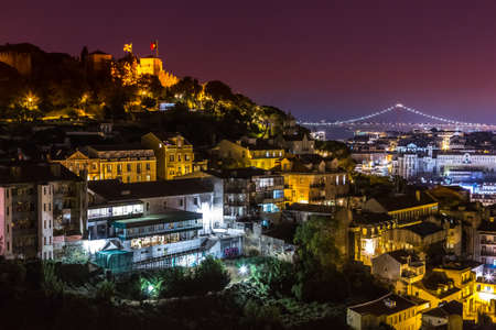 LISBON, PORTUGAL - JULY 30, 2014: Aerial view of Lisbon at night, Portugal. Sao Jorge Castle Editorial