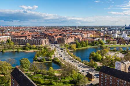 COPENHAGEN, DENMARK - MAY 23: Aerial view of Copenhagen, Denmark in a sunny day Editorial