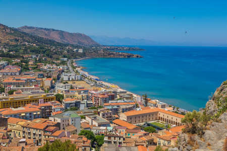 CEFALU, ITALY - JULY 28, 2017: Aerial view of Cefalu in Sicily, Italy in a beautiful summer day